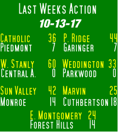 Last Weeks Action 10-13-17 Catholic         36 Piedmont          7 W. Stanly       60 Central A.        0 Weddington  33 Parkwood        0 P. Ridge          44 Garinger          7 Sun Valley      42 Monroe            14 Marvin            25 Cuthbertson 18 E. Montgomery   24 Forest Hills        14